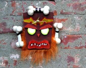 Uka Uka wooden wall clock Crash Bandicoot by Mortiis.M