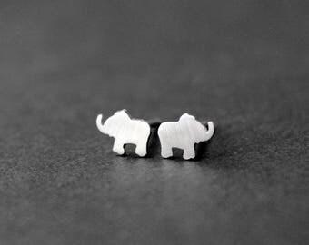 Tiny Sterling Silver Elephant Post Earrings - Handcrafted Silver Jewelry - Silver Earrings - Silver Stud Earrings