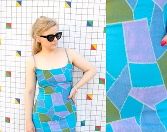 PATCH 1980s Funky Patchwork Style Bodycon Tank Dress Abstract Spaghetti Strap Blue Dress