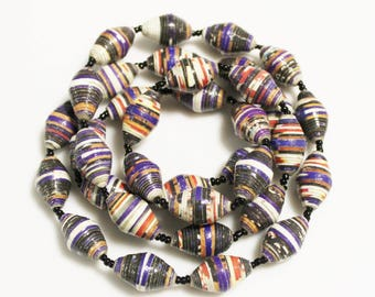 35 Colorful Recycled Paper Beads Made in Uganda Fair Trade Beads, Unique Ethnic Beads (AK72)