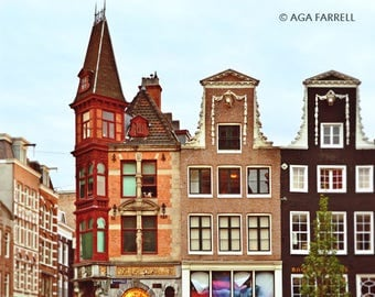 Architecture Art, Amsterdam Photography, Architectural Print, Travel Photography, City Wall Art Print, Red, Teal, Architectural Wall Decor