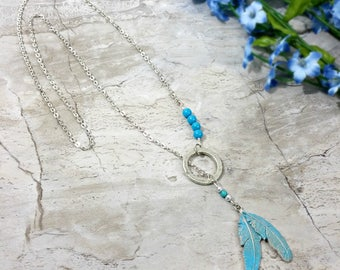 Blue Feather Necklace, Feather Lariat Necklace, Feather Necklace, Feather Jewelry, Silver Feather Necklace, Silver Necklace, Gift for Her