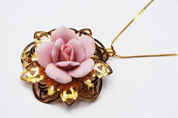 Pink rose Necklace - Gold tone metal - light  Pink ceramic flower -Floral pendant necklace