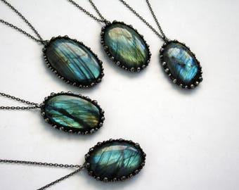 Blue Labradorite Round Necklace - Medium // Rainbow Labradorite Statement Necklace