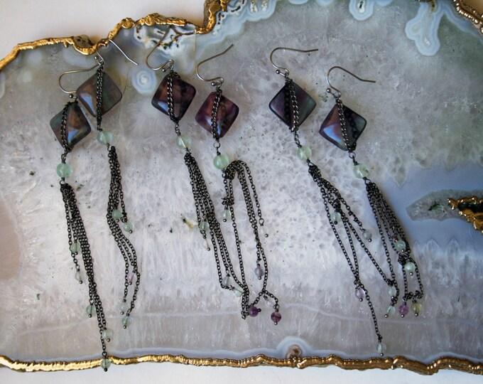 Fluorite Fringe Dangle Earrings