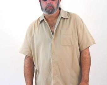 90s J. Crew Tan Cotton Mesh Shirt, Vintage J Crew Short Sleeve Shirt, Safari Shirt, Summer Shirt, Tropical Shirt, Summer Mens Wear, L XL