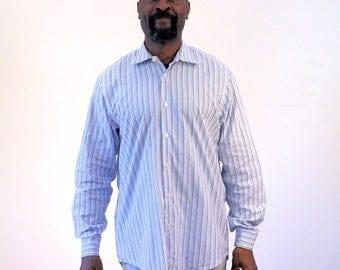 90s Hugo Boss Dress Shirt, Mens Dress Shirt, Blue Cotton Pinstripe Button Front Shirt, Hugo Boss Shirt, Size 15 - 25, M, Medium