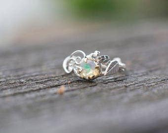 Elvish Silver Twig Ring with Swirls and Leaves and Opal in 14k Yellow Gold-  Nature Inspired Swirly Swirl Sterling Silver Engagement Ring