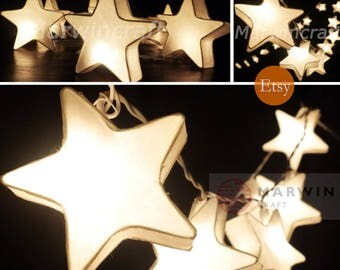 Colour Option Mulberry Paper String Lights Star Fairy Lights - Star string lights for bedroom