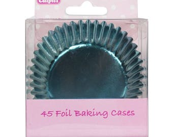 Metallic Blue Foil Cupcake Liners Baking Cups- 45 Ct.