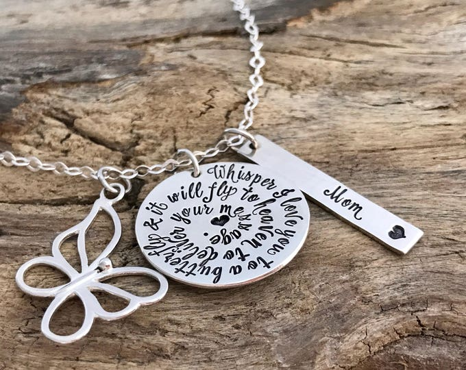 Whisper i love you to a butterfly   Custom Necklace    Memorial Necklace   Memorial gift   Sympathy gift   Sympathy Necklace Jewelry