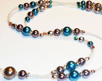 Beaded ID Lanyard, Womens ID Badge Holder, Beaded Lanyard, Pearl Lanyard, Elegant Lanyards, Fall Wardrobe Accessories, LY16183