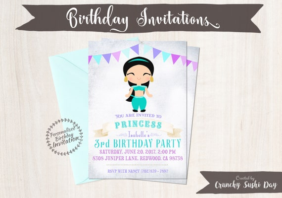 Princess Jasmine Customizable Birthday Invitations, Princess, Girl Birthday Invitations, Jasmine Birthday, Printable, Princess Birthday 058
