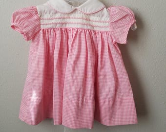 Vintage Girls Pink Gingham Dress with Peter Pan Collar- Size 6 months - New, never worn