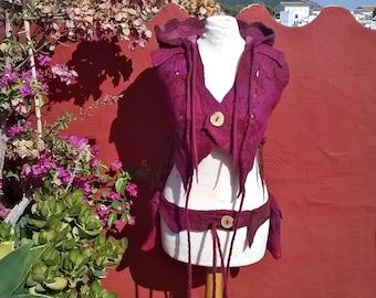 SALE Summer Berries Pixie Hooded Vest Top