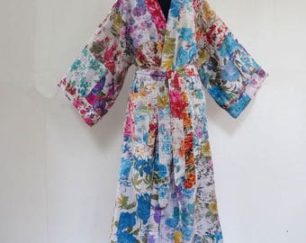 Kimono dressing gown, bathrobe white multicolored cotton gaudri patchwork