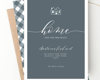 New Home Holiday Card, Moving Announcement, We've Moved, Address Card, Home for the Holidays, New Year New Home Illustration, Printable File
