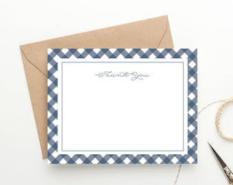 Printable Thank You Instant Download, Gingham Wedding, Stationery Set, Preppy Notecards, Birthday Thank You Digital File PDF, Flat Note Card