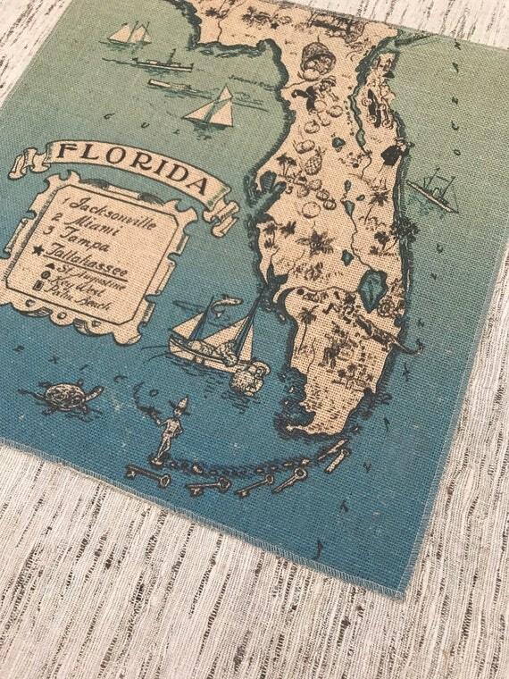 florida map print fabric