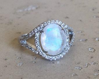 Moonstone Engagement Ring- Rainbow Moonstone Oval Halo Spilt Band Ring Moonstone
