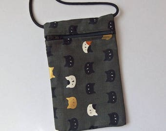 """Pouch Zip Bag CAT FACES Japanese Fabric. Cell Phone Pouch. Walkers, markets, travel bag.  small fabric cat purse 6.5"""" x 4.25"""""""