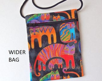 """Pouch Zip Bag Rainbow CAT Fabric - great for walkers, markets, travel. Cell Phone Pouch. Small fabric Purse.  WIDER Bag 7"""" X 5.25"""""""