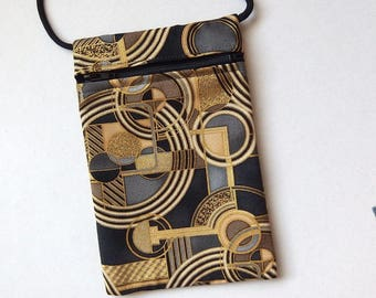 """Pouch Zip Bag Geometric pattern Fabric.  Great for walkers, markets, travel. Cell Phone Pouch. Evening Purse. gold gray accents. 7"""" x 4.5"""""""