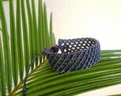 Macrame bracelet for man, dark blue bracelet men, wrap bracelet, adjustable bracelet, hand made in Italy