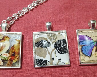 Glass cabachon square pendant necklace bird butterfly Floral