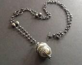 Long gunmetal necklace, long boho necklace, Pyrite necklace, boho pendant necklace, tribal necklace, necklace boho, necklace long