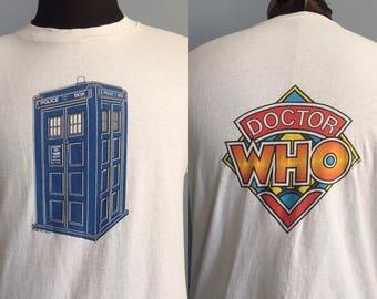 80s Vintage Doctor Who 1982 BBC tv Tardis T-Shirt - LARGE
