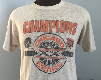 80s Vintage Chicago Bears 1985 Super Bowl XX Champions 1986 nfl football T-Shirt - MEDIUM