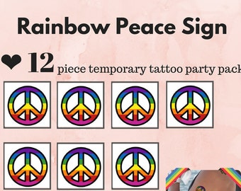 12 Peace Temporary Tattoos - Rainbow Peace - Peace sign temporary tattoo - rainbow pride - pride - LBGT tattoo - gay tattoo