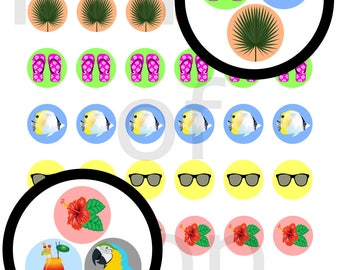 Tropical Vacation Sticker Icon Printable, Daily Planner Stickers, Scrapbook, Calendar