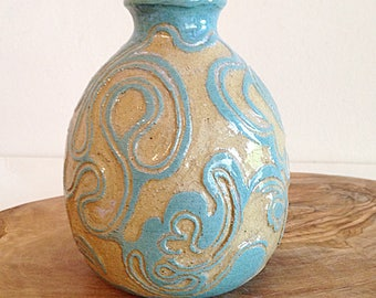 Turquoise and Yellow Dreamy Swirl Artisan Pottery Vase