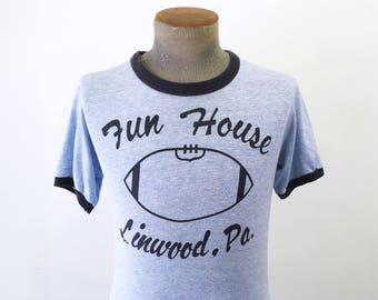 1970s Vintage Linwood, Pennsylvania Bar / Taproom FUN HOUSE T-Shirt Blue Ringer Shirt with Football - Size SMALL