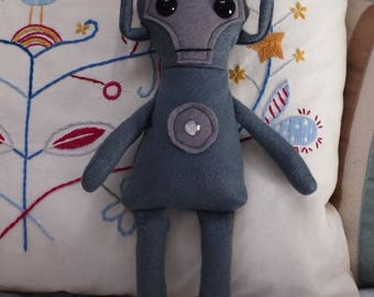 """Doctor Who Inspired Cyberman Felt Cuddly Toy/Rag Doll 33cm (13"""") tall"""