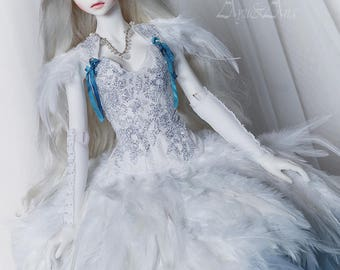 Enchanted Swan OOAK handmade dress set for bjd dollfie sd sd10 sd13 clothing clothes doll size fantasy romantic lace style