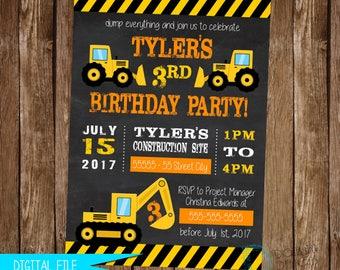 Construction Birthday Invitation - Construction Birthday Invite - Construction Invite - Construction Party - Bulldozer Invite - Digger