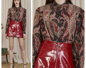 vintage 70s/80s YSL Yves Saint Laurent Rive Gauche wool paisley print collarless shirt