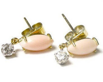 14k Yellow Gold Angel Skin Coral and Diamond Earrings - Post Back - Pierced - Diamonds Color I - J and Clarity VS2 # 76