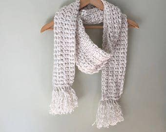 Fringe Scarf / Hygge / Over-sized Scarf / Thick Scarf / Crochet Scarf / Cream Scarf / Winter White Scarf