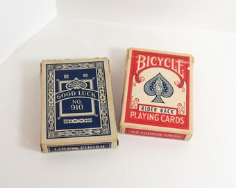 Vintage Set of 2 Playing Cards Decks - One Bicycle Original 808 Rider Pack