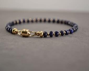 Blue Sapphire Bracelet, Sapphire Gold Bracelet, Sapphire Beaded Jewelry, Gold Bracelet, Magnetic Clasp Bracelet, Gold and Blue Bracelet