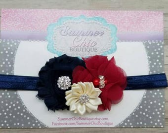 Fall Baby Headband, Infant Headband, Newborn Headband, Baby Headband, Navy, Burgundy, and Ivory