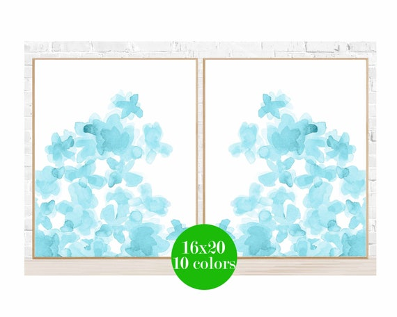 Aqua Flowers Posters, 16x20 Set of 2, 10 Colors