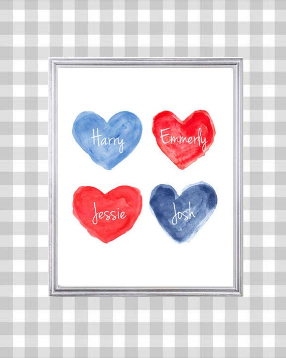 Personalized Family Print, 8x10, Red and Blue