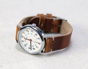 Leather Watch Band // Horween Leather Strap in English Tan - Brown Leather Custom Watch Band // Handmade Watch Strap // Thumbnail Buckle