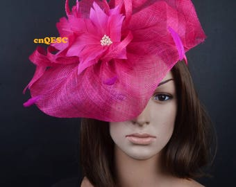 Hot pink fuchsia  sinamay  fascinator with feather flowers for wedding party races