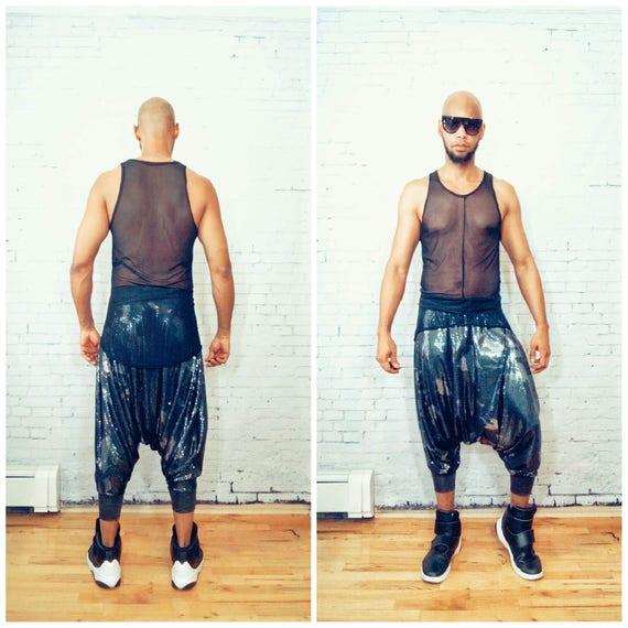 Full Mini Sequin Harem Pants Heat Low drop crotch ninja pants / baggy  pants women harem pants men harem pants  yoga pants